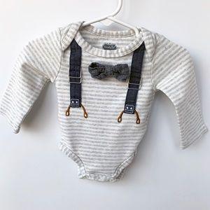 Mudpie Suspender & BowTie Onesie; 0-6 Months